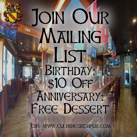Atlantic Beach, Floryda: Join our Birthday Club On Line for $10 Gift OFF At Culhane's Irish Pub
