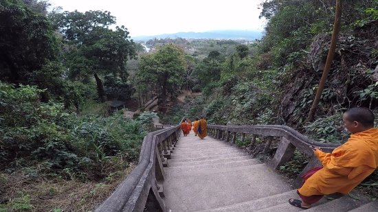 Tham Chang Cave: looking down on the climb up