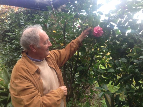 Vedra, สเปน: Manolo showing us a rare camellia