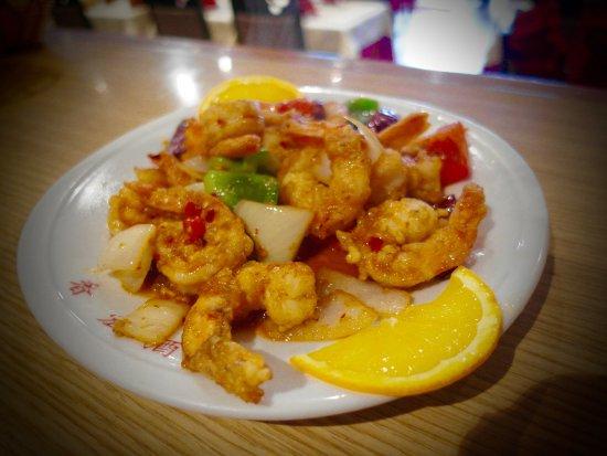 Courbevoie, France: Crevettes aux piments séchés !