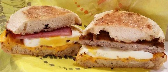 Clifton Park, NY: Original Egg McMuffin (left) & Sausage Egg McMuffin.