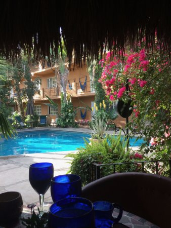 The Bungalows Hotel: View from breakfast dining area to pool and rooms