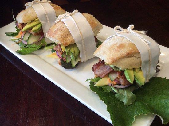 Richmond, Nova Zelândia: Bacon, cheese, avocado in a ciabatta roll. Freshly made and ready to go!