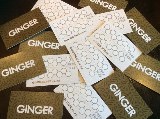 Richmond, Yeni Zelanda: Ginger cafe has coffee loyalty cards