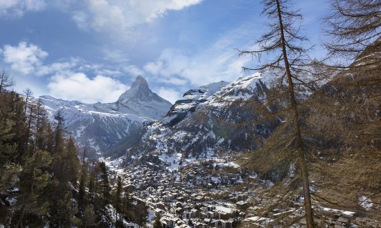 Hotel Monte Rosa: A view of Zermatt village and the Matterhorn mountain in Switzerland's alpine region.