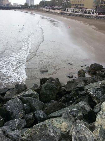 Hilton Fujairah Resort: Пляж во время прилива и отлива. Разница в десяток метров песка.
