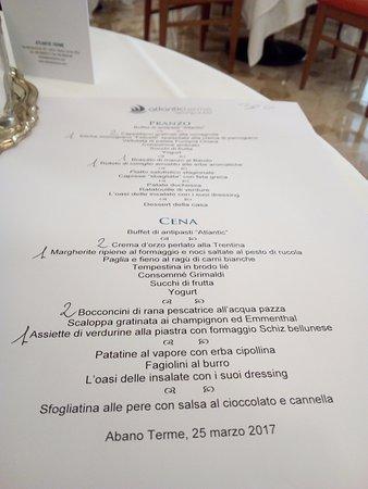 Atlantic Terme Natural Spa & Hotel: MENU.