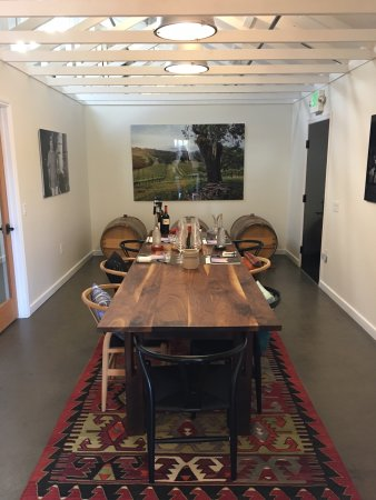 Wine Cube Tours: Hawkes Winery Tasting Room - we drank from those barrels!