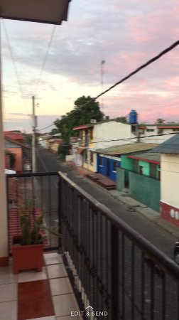 Hotel El Sueño de Meme: View from balcony onto street