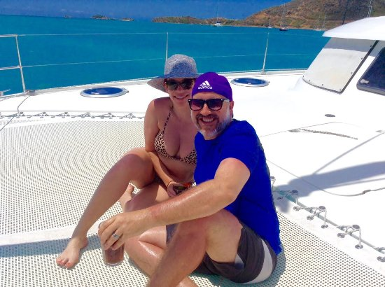 Jolly Harbour, Antigua: We loved lounging on the front of the boat while sipping on Margot's rum runners.