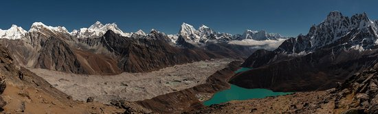 Kathmandu Valley, Nepal: This is a Gokyo lake valley trekking in Everest region. The picture is taken from Gokyo Ri (5360