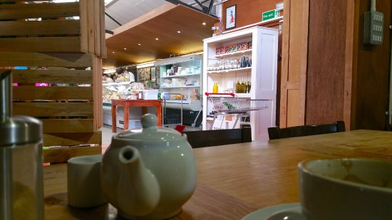 Faversham, UK: View from our table towards fresh counter