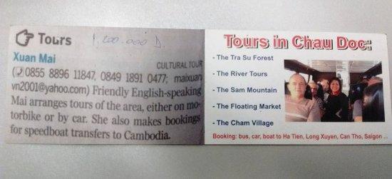 Murray Guesthouse: La carte professionnelle de Mai, l'organisatrice des excursions pas toutes réussies...