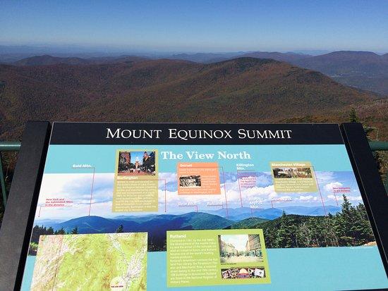 Arlington, VT: signage identifies distant peaks