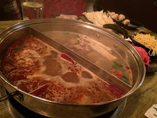 Concord, CA: hot pot - half spicy/half regular broth