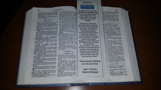 The Inn On The River: You usually don't get greeted by the bible open on the dresser when you arrive! :)