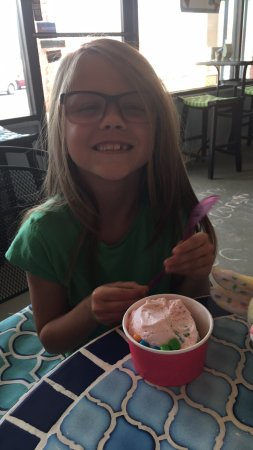 Warner Robins, GA: She's very happy with her bubble gum ice cream with bubble gum sprinkles.