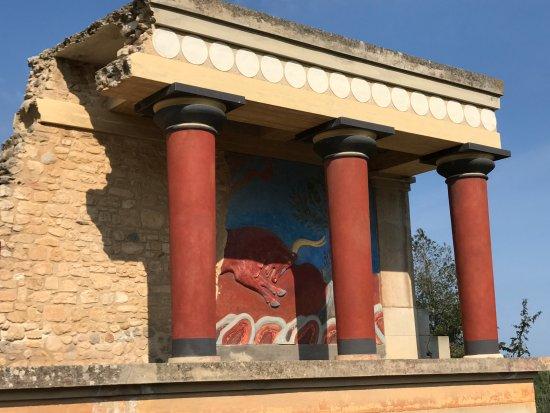 Knossos Archaeological Site: Parte de um pintura do Minotauro.
