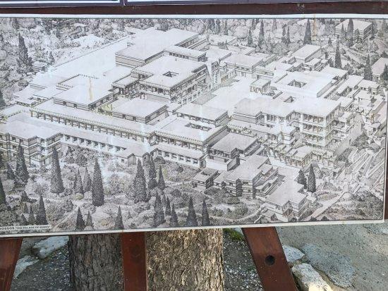 Knossos Archaeological Site: Desenho de como deve ter sido este enorme palácio de Knossos.