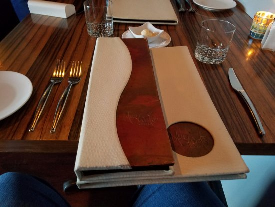 Blue Water Grill: the menu and table setting