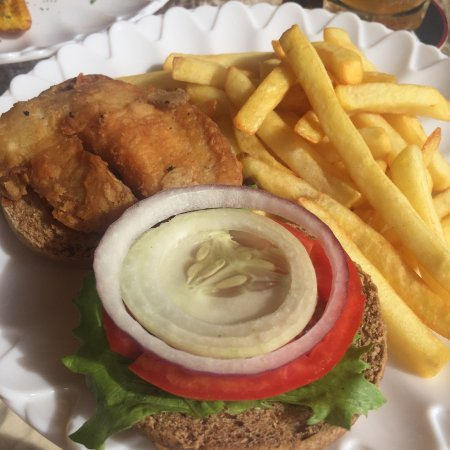 Saint Mary Parish, Antigua: Excellent lobster sub, lobster salad, conch fritters, plantains, fish burger, piña colada, old f