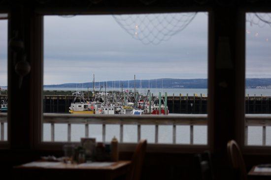 Digby, Canada: Just a small view of some of the fishing boats from inside the restaurant. Well worth the visit!
