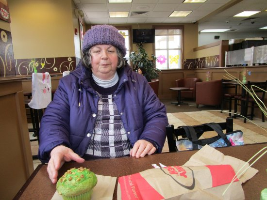 Cranston, RI: That is me with my Pistachio Muffin.