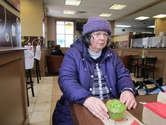 Cranston, RI: That is me eating my Pistachio Muffin.
