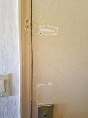 Ocean Front Motel: door with hardware markings