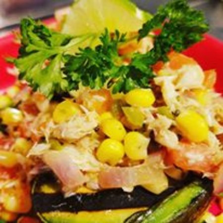 Raynham, MA: Grilled Avocado with crab and corn pico