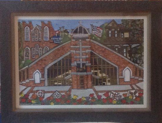 Ebenezer Baptist Church of Atlanta: Watercolor of Historic Ebenezer, Heritage Sanctuary an King Family Home