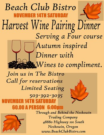 Neskowin, Орегон: Fall Wine Pairing