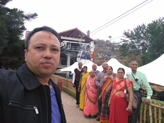 Kurintar, Nepal: Suresh KC, from infinity tours, with the group of family members from Jaipur 28th March 2017