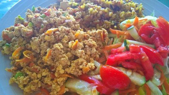 Punta Gorda, Belice: Scrambled tofu, fried brown rice with veggies, salad