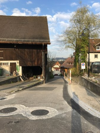 Opfikon, Schweiz: Outside Hilton Zurich take the stairs that lead to a small village where you are able to meet wi