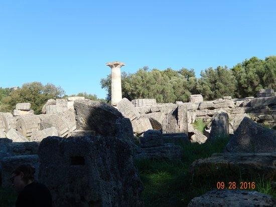 Ancient Olympia: Last standing column of the Temple of Zeus at the original Olympic site at Olympic, Greece.