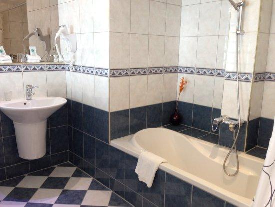 Badkamer met apart afgesloten toilet, spaardouche - Foto van Hotel ...