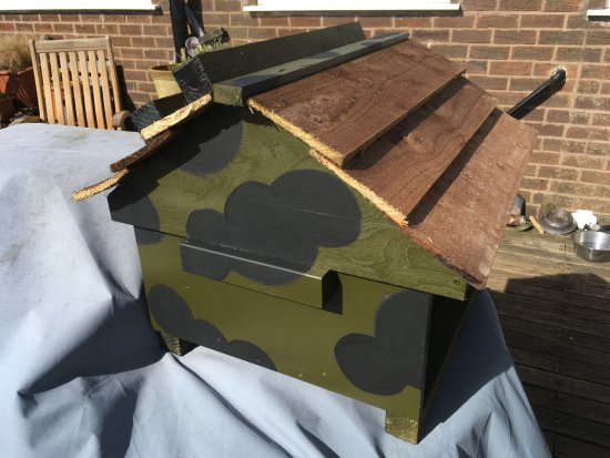 Samlesbury, UK: Painted Swarm Cottage with 'Mickey Mouse' camo.
