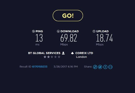 Felpham, UK: Internet Speed