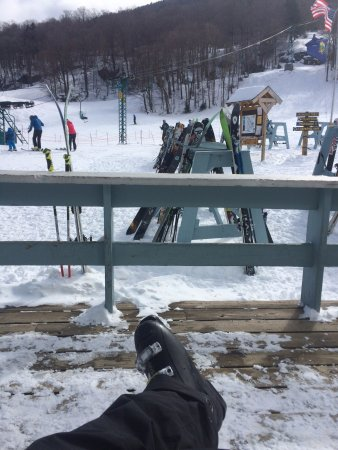"Mad River Glen: Relaxing on the deck; excellent tree skiing day! Mid March storm dumped 40""+; best day ever!"