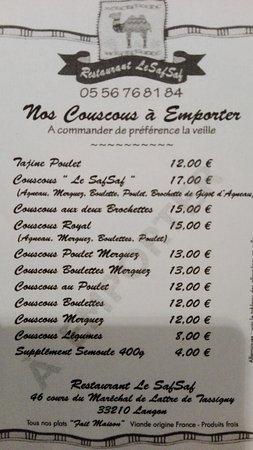Langon, Prancis: Nos couscous à emporter.