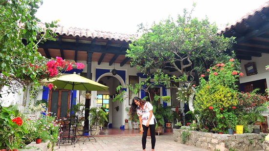 Posada Casa Juana: Flores lindas del primer patio!