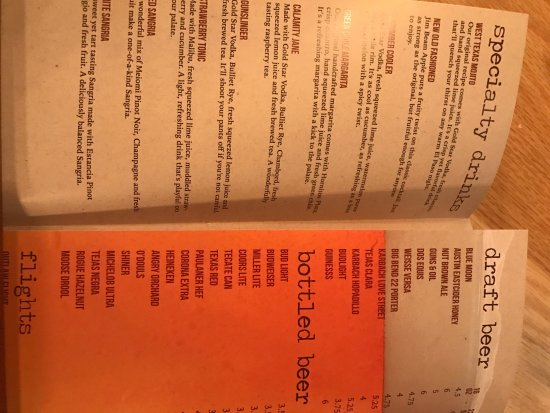 West Texas Chop House  Menu, photo of meat choice and photo