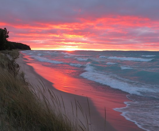 Sunset in Saugatuck on the dunes