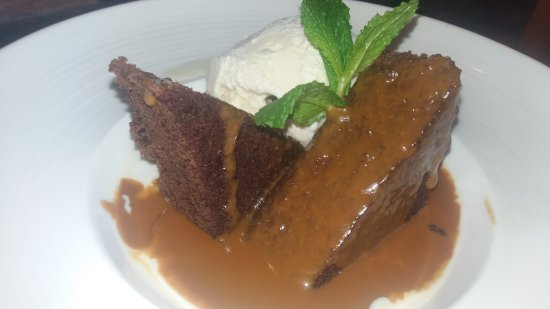 The Blue Iguana Grill: Sticky Toffee Pudding with Vanilla Ice Cream