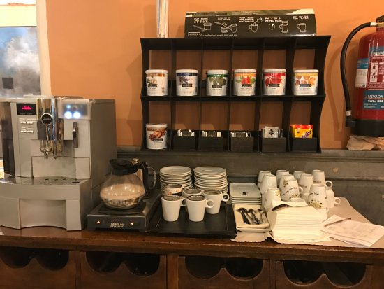 Hotel Inglaterra Coffee Tea Station At The Breakfast Buffet