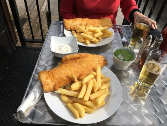 Maggie's Fish & Chips: Two haddock and chips seated outdoors at brilliant Maggie's