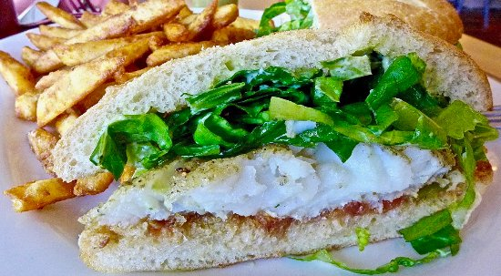 Point Richmond, CA: cornmeal dusted cod sandwich with fires