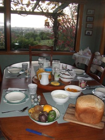 Serendipity Homestay: Dine with a view over farmlands to the lake.