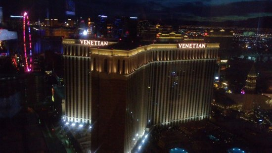 The Palazzo Resort Hotel Casino : 41st floor strip view, including High Roller sky wheel and the TI Volcano